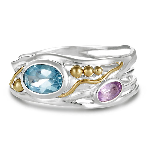 Blue Topaz and Amethyst silver ring