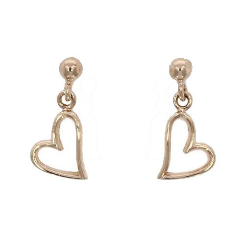 Open Heart 9ct rose gold drop earrings
