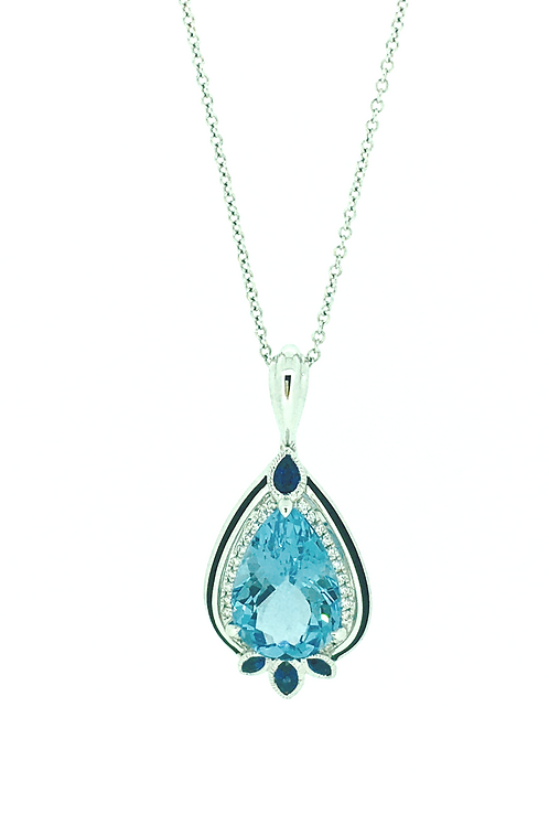 Blue Topaz White Gold pendant