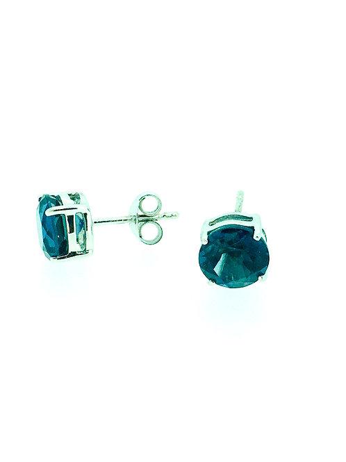 London Blue Topaz white gold stud earrings