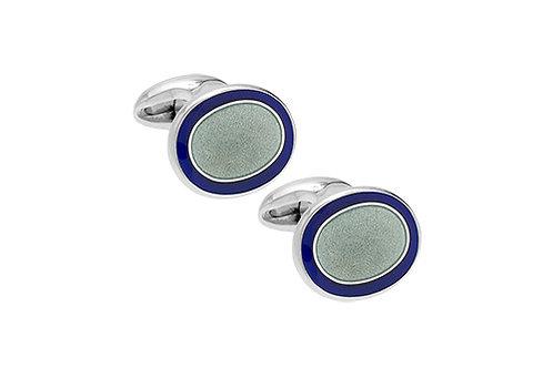 Blue and grey enamel silver cufflinks