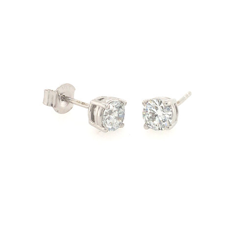 Diamond 1ct Solitaire (Lab grown) 18ct White Gold stud earrings