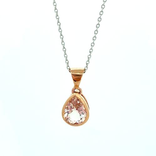 Morganite Peardrop Rose gold pendant
