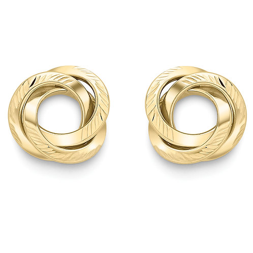 Patterned open knot gold earrings
