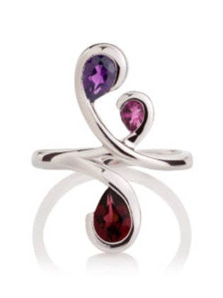 Tana amethyst, rhodolite, and garnet silver ring