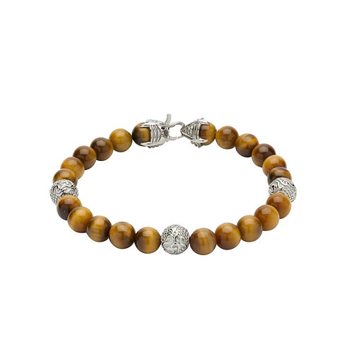 Yellow Tiger eye beads bracelet with steel elements & claw clasp