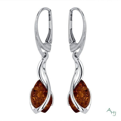 Baltic Amber and silver drop earrings with French fitting