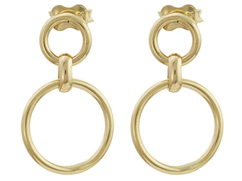 Two circle gold drop earrings