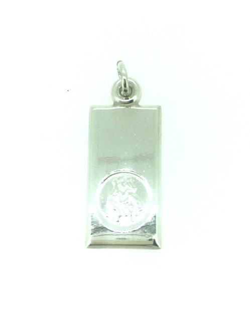 Rectangular silver St Christopher pendant