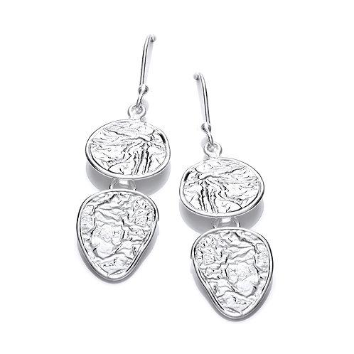 Flat Earth Silver drop earrings