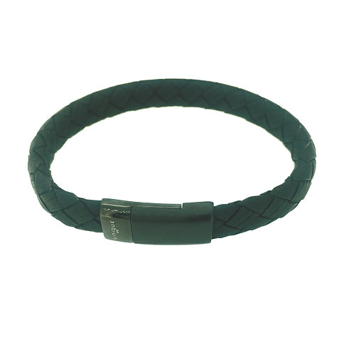 Black Leather bracelet with Black IP plate magnetic clasp