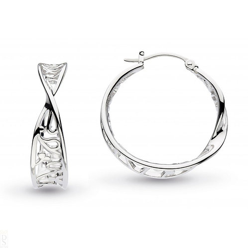 Silver blosson flourish large hoop earrings