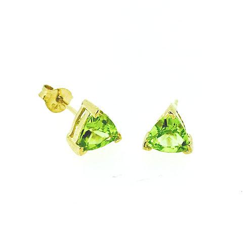 Peridot trillion cut gold stud earrings