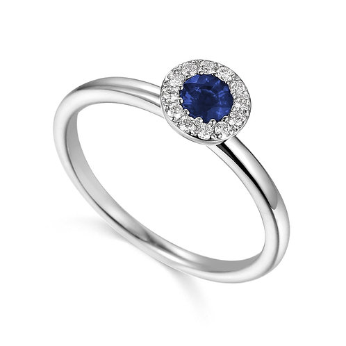 Sapphire and Diamond halo white gold ring
