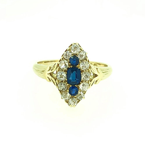 18ct yellow gold Sapphire and diamond marquise ring CIRCA 1880