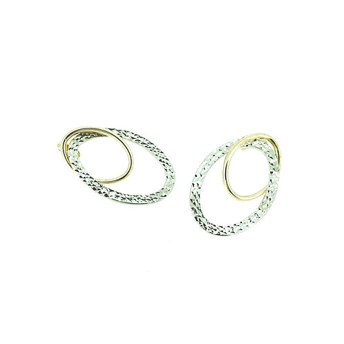 Double Oval Bicolour stud earrings
