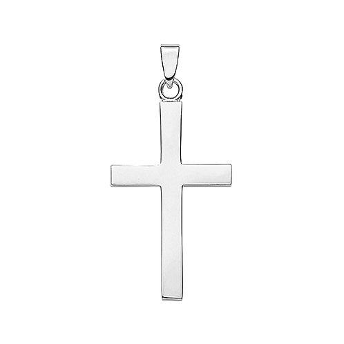 Large Slim Cross silver pendant