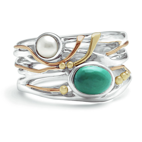 Tibetan Turquoise and Pearl statement ring