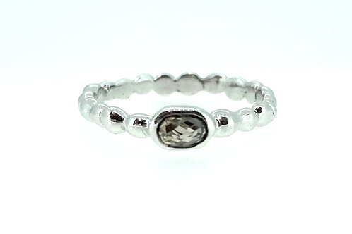 Grey Diamond beaded white gold ring