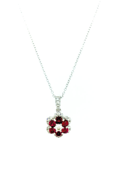 Ruby and Diamond Floral style white gold pendant