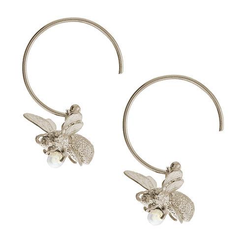 Silver Flying Bee Hoop Earrings