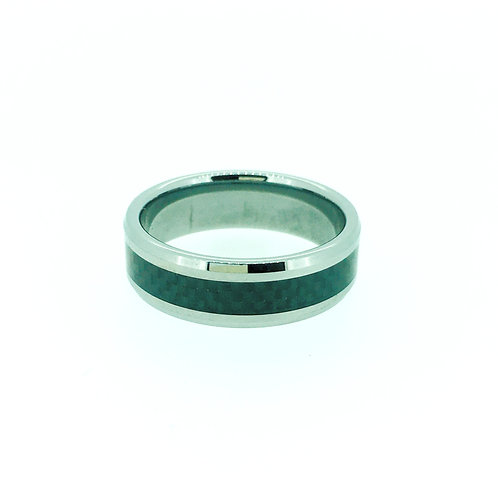 Tungsten with black carbon fibre inlay ring