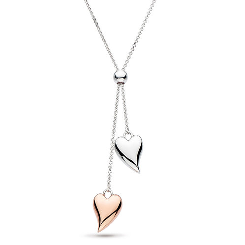 Desire Lust Blush Rose Gold plate and Rhodium plated Silver Heart Lariat Necklac