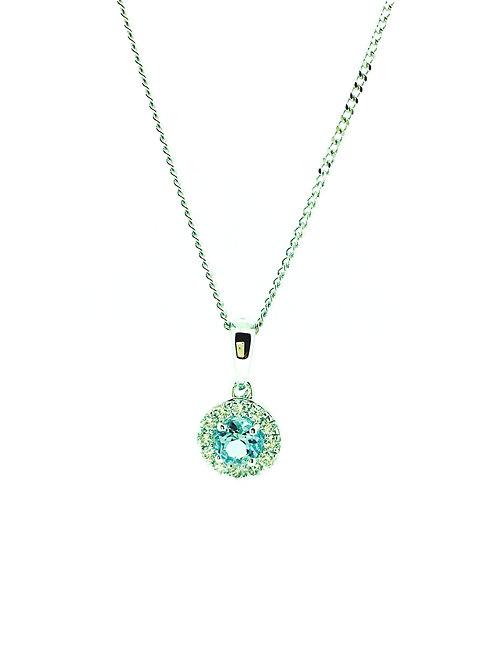 Aquamarine and Diamond halo white gold pendant on chain