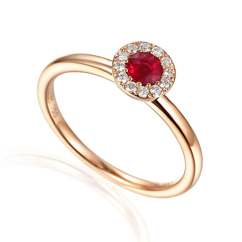 Ruby and Diamond halo 9ct Yellow gold ring
