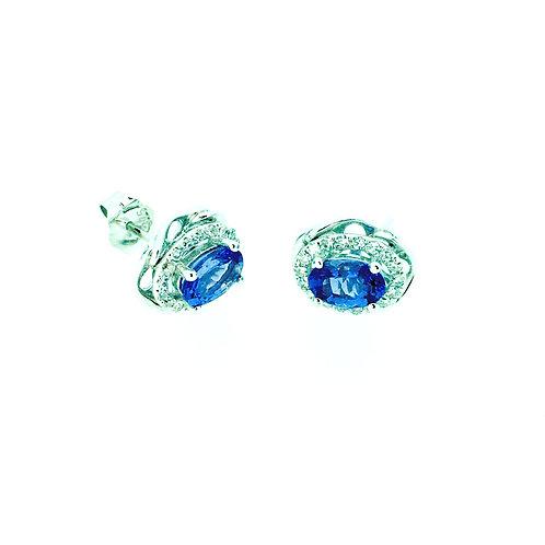 Tanzanite and Diamond White gold stud earrings