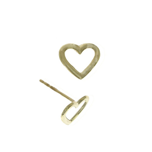 Open heart gold stud earrings