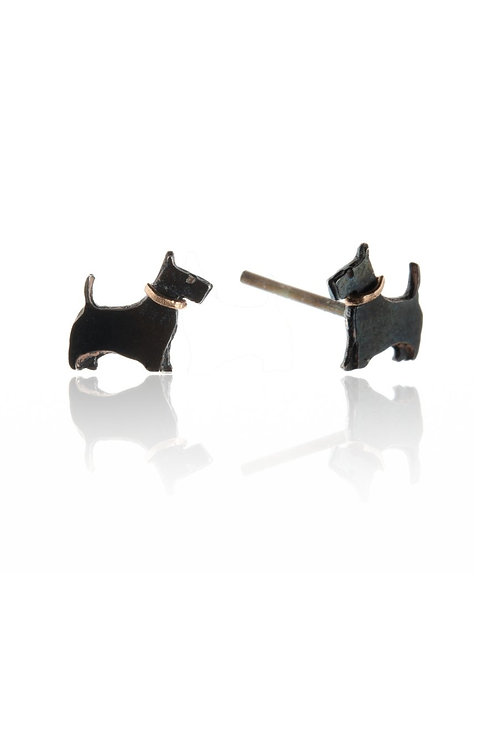 Black Scottie dog stud earrings
