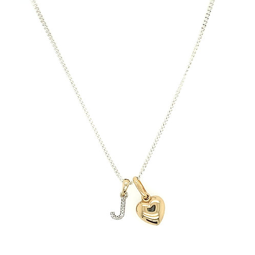 Diamond set Gold J Initial and Gold Heart on silver chain