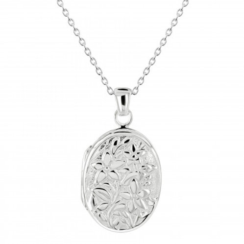Floral Oval Silver Locket