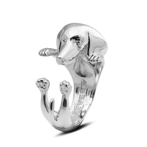 Silver Dachshund hug ring