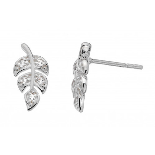 Leaf Pave CZ silver stud earrings