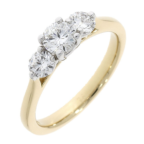 Diamond 3 claw side trinity ring
