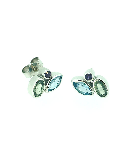 Blue Topaz, Green Sapphire and Amethyst gold earrings