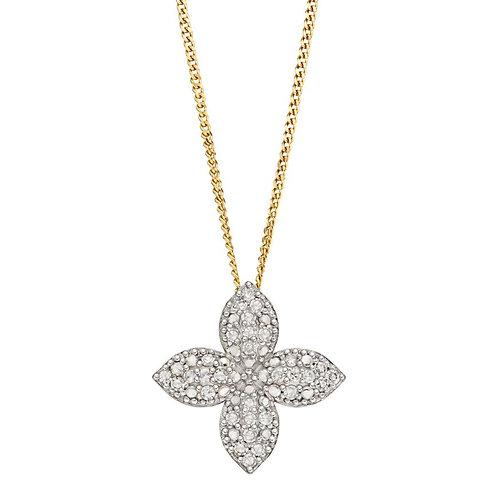 Diamond Flower 9ct Yellow Gold pendant and chain