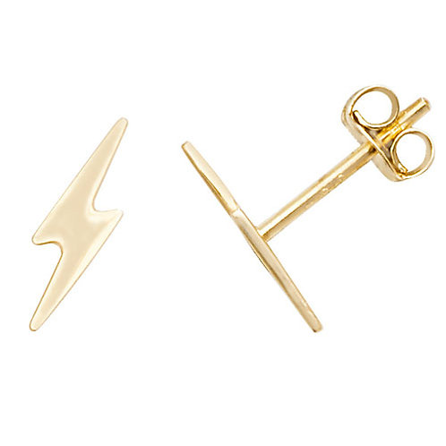 Lightening Bolt 9ct gold stud earrings