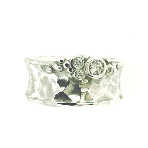 Wide textured Silver and Diamond set ring