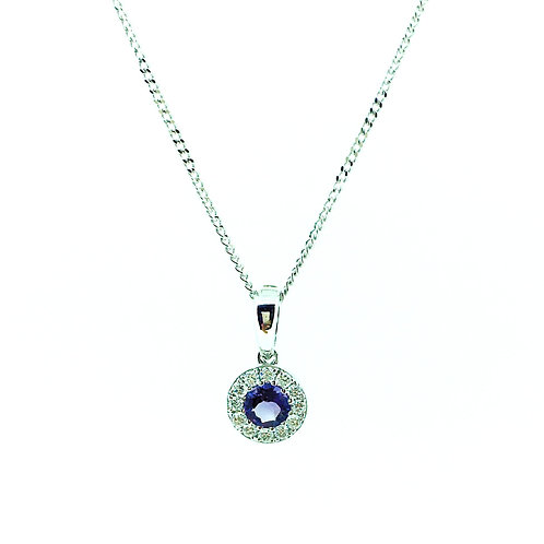 Amethyst and Diamond halo White gold pendant on chain