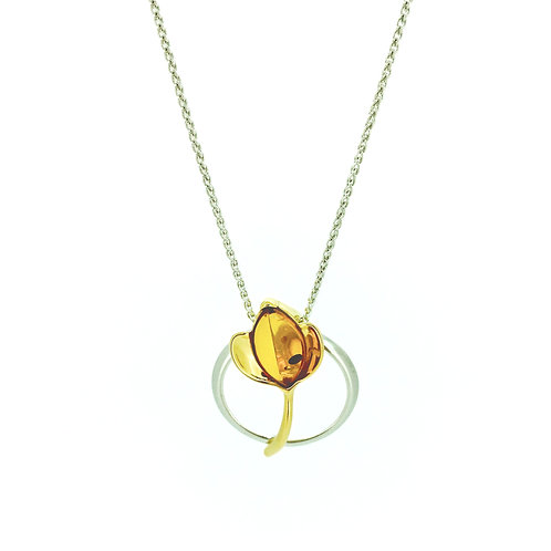 Baltic Amber and gold plated silver flower pendant