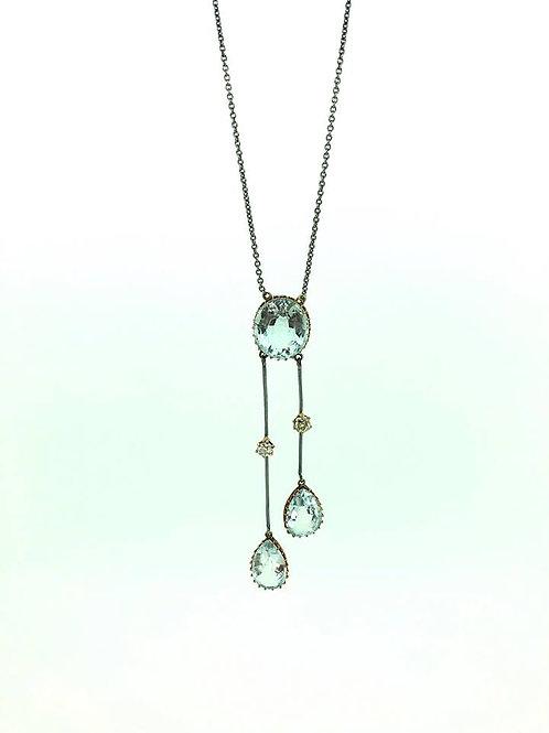 18ct yellow gold and Platinum Aqua and diamond negligee pendant CIRA 1910