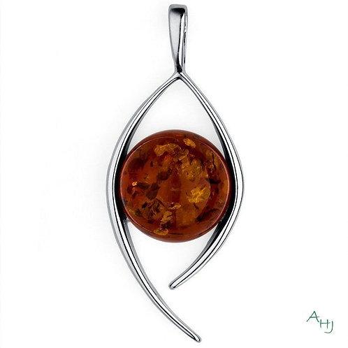 Amber Open Swirl Silver pendant on chain