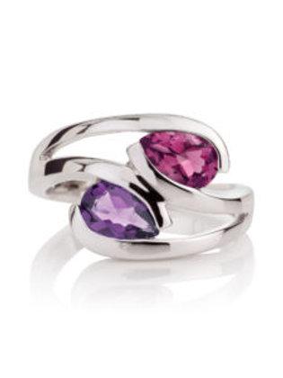 Rhodolite and amethyst Love Birds silver ring