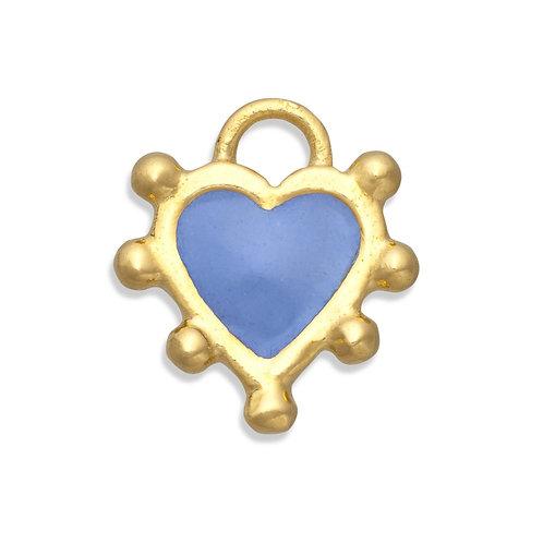 Boho heart charm cornflower blue