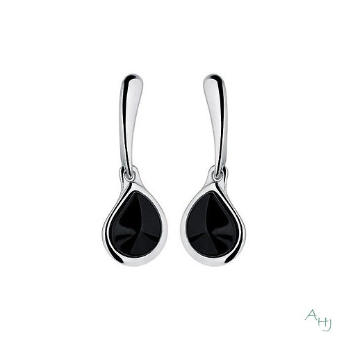 Whitby Jet and silver drop earrings