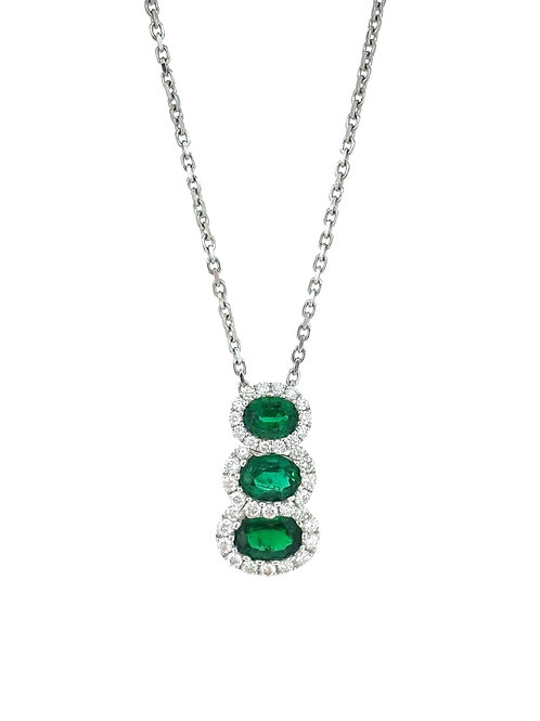 Emerald and Diamond Trio drop pendant
