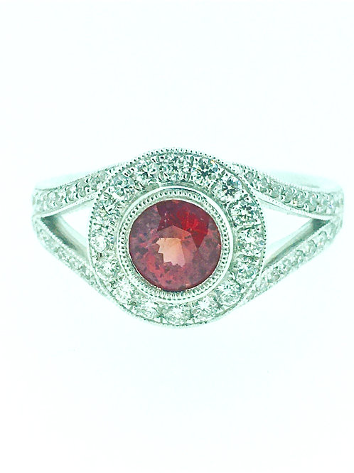 Padparadscha Sapphire and Diamond gold ring